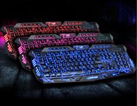 led computer keyboard - Russian Version Gaming Gamer color Switchable Backlights LED USB Wired Game Computer M200 crack explosion luminous backlit keyboard