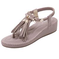band sponge - New Fashion Ladies Shoes Sponge Cake Thick Crust Comfortable Women Sandals Tassel Roman Women Flat Shoes