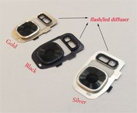 Wholesale New Camera Glass Lens Cover for Samsung Galaxy s7 edge with flash diffuser Replacement Part free DHL