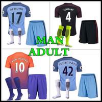 Wholesale Thailand quality custom Adult Kits Manchester City home away jerseys DZEKO KUN AGUERO KOMPANY TOURE YAYA DE BRUYNE shirt