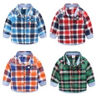Wholesale Boys shirts nova new fashion Brushed cotton striped long sleeved plaid shirt baby boy spring autumn blouse cotton shirt for boys