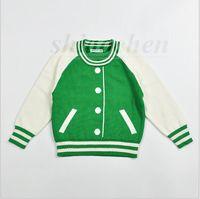 Wholesale Kids Ins Baseball Cardigan Fashion Sweater Ins Knit Coat Pullovers Jacket Outerwear Crochet Knitwear Outwear Baby Ins Jumper Tops A1087