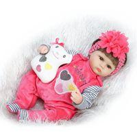 bebe model - Newborn quot cm Baby Reborn Dolls Reborn Toddler Lifelike Brown Eyes Open Dolls for Girls Learning Toys bebe Reborn Real for Sale