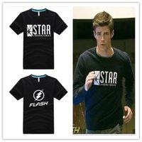 Wholesale Cotton Superhero T Shirts - 2016 The Flash Print Cotton T shirt Fashion STAR Gotham City Men Short Sleeve T-shirt Superhero TV Series Tee zoom Brand Clothing