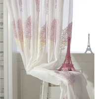 Wholesale Pastoral style flocking three dimensional flowers girl gauze bedroom cut off the floor window voile curtain