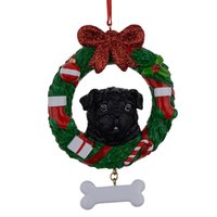 Wholesale Black Pug Dog Resin Crafts Shiny Christmas Ornaments Hand Painted and Easily Personalized as for Pug Owners gifts or home decor