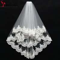 Wholesale Cheap Promotion White Ivory Layers Lace Wedding Veil with Comb Appliques Tulle Short Bridal Veil Wedding Accessories