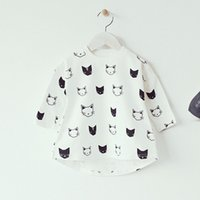 bat print fabric - Infant Toddler Tshirt Cute Cat Print Cotton Fabric Kids Long Bat Sleeve Spring Tops Babys Autumn Clothes Irregular Length