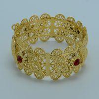 africa big - Big Bangle for Women Wide Bracelet K Gold Plated Dubai Stone Bracelets Ethiopian Jewelry Africa India Middle East Style A02
