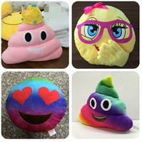 Wholesale 35cm emoji plush toys Pillow Cushion cartoon inches Poop Stuffed Animals Pillows dolls crown pink rainbow color