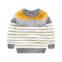 angora clothing - Striped Kids Sweater Angora Pullover Outfit O Neck Unisex Clothes Winter Pullover Baby Girls Toddler Boys Sweaters Autumn