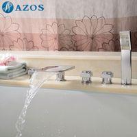 bathtub diverter valve - AZOS Bathtub Faucets Chrome Polished Deck Mount Hot Cold Mixer Sprayer Showerheads Handles Diverter Valves YGWJ080