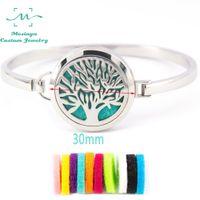Wholesale 5pcs tree of life Aromatherapy L s steel Essential Oils Diffuser Locket bangle wrist