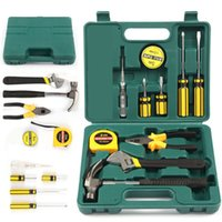 Wholesale 12PCS Tech Professional Basic Fix Repair Home Tools Set Hand Carry Tool Box Kit fast shipping