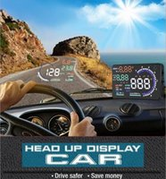 Wholesale A8 Car HUD Head Up Display System Speed Monitor OBD II Head up HUD Display hud speed display Fast Shipping