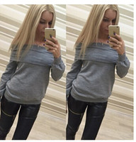 Wholesale Dongkuan collar sexy strapless long sleeved T shirt sweater women