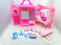 Wholesale Baby Girl Birthday Gift Pack Hot Sale Fashion Mini Plastic Pink Sweet DIY Doll House Furniture