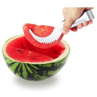 Wholesale Watermelon Slicer Server Perfect Stainless Steel Fruit Cutter and Corer Easily Slices Cantaloupe To Scoop Kitchen Gadget