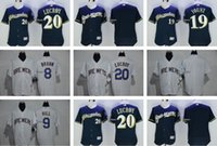 baseball robin - 2016 Men s Jonathan Lucroy Robin Yount Ryan Braun Aaron Hill Blank Milwaukee Brewers Cool Base Baseball Jersey Blue White