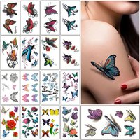 Wholesale Womens Girls Lovely Colorful Butterfly Sexy Body Arts Arm Neck Wrist Ankle Temporary Tattoos Removable Waterproof Stickers Sheet Style