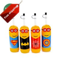 Wholesale New Colorful Minions ml Empty E Liquid Plastic Dropper water drink Bottles with Child Proof Bottle caps with straw Needle Tips E liquid