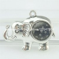 antique silver trays - 16762 PC Alloy Antique Silver Vintage Animal mm Setting Tray Elephant Pendant