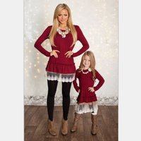 Wholesale mother daughter dresses wine red autumn style mom and daughter clothes long sleeve lace family matching dress