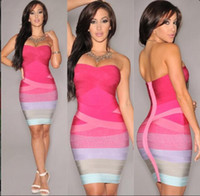 Cheap Summer Fashion Sexy Backless Wrapped Chest Dress Nightclub Rainbow Color Gradient Package Hip tight pink Skirt