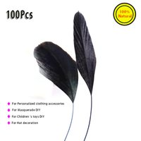 Wholesale 100Pcs black cm pure natural bird goose feathers For Masquerade hats decoration Clothing decoration kids toys DIY