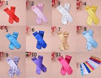 Wholesale DHL shipping Colors Cartoon Girls Long Gloves Elsa Princess Girls Ladies Bow Fancy Gloves Christmas Birthday Children Kids Gift