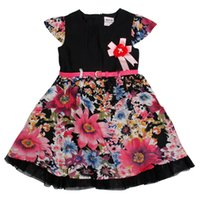 american chinese times - 2016 Top Fashion Time limited Flower Printing Girls Clothes Cotton Summer Children Sleeveless Beautiful Dress for Kids And Gilrs H3781