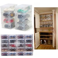 Wholesale High Quality Foldable Plastic Shoe Storage Case Boxes Stackable Organizer Shoe Holder Easy DIY