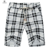 Wholesale Casual Mens Board Shorts Brand Design Homme Summer Swimwear Shorts Big Size XL Plaid Shorts Bermuda Masculina Black Coffee