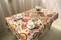 Wholesale Mediterranean Style Cotton Linen Table Cloth and Place Mat Customize Size MOQ Piece Support Drop Shipping