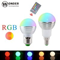 Wholesale 3W RGB LED Bulbs E27 E14 led RGB lamp V V remote controller colors globe lights led