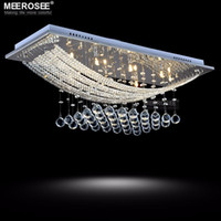 Wholesale 2015 Chandeliers And Ceiling Lights Crystal Chandelier Light Fixture Rectangle Clear Lustre Lamp G4 for Dining Room Meeting Room Md5018