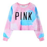 Wholesale 2016 New Autumn Winter Womens Pink Fleece Hoodies Sweatshirts Fashion Slim Harajuku Ladies Bomber Jacket Clothes Sweatshirt Crop Tops WY0029