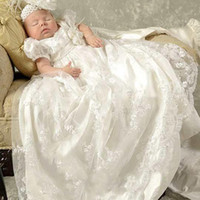 Wholesale 2016 Newest Christening Gowns Jewel Neck Short Sleeves Exquisite Lace Baptisom Dresses First Communion Wear with Sash Handmade Flower Custom