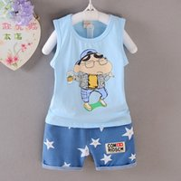 Wholesale NOVA summer the newest design printing with Crayon Shin chan clothing sets for all ages sy