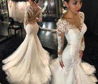 galia lahav wedding dresses - Galia Lahav Mermaid Wedding Dresses Sexy Vestido De Novia Plus Size Lace Long Sleeves See Through Back Chapel Train Bridal Gowns