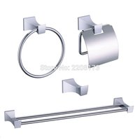 bath accessories kit - 2016 New Simple Style Brass Polished Chrome Hardware accessories bath paper robe holder hanger towel Ring rack bar Kit