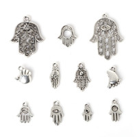 antique jewels - New Zinc Alloy Hamsa Hand Pendants Charm Mixed Antique Silver Plated Charms DIY Metal Jewelry Findings jewel