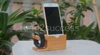 Wholesale Elegent Design Apple Watch iPhone Wooden Bamboo Charging Stand Bracket Docking Station Wood Holder Display Stand For iWatch Apple Phone