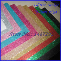 Wholesale New Arrival pieces Set Glitter paper sticker for Scrapbooking Photo ablum DIY Craft decoration colors mixed