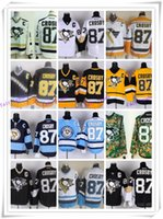 jersey shop - Pittsburgh Ice Hockey Penguins Jerseys Crosby yellow blue white black drop shopping freeshipping