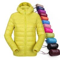 Wholesale women ultra light down jacket hooded winter duck down jackets women slim long sleeve parka zipper coats pockets solid