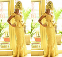 african braid styles - Aso Ebi Style African Women Prom Dresses Yellow Lace Mermaid African Prints Braids Nigerian Evening Gowns Ghanaian Fashion Prom Dresses