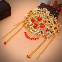Wholesale ancient costume bridal headdress fringed red Chinese marriage hair accessories GZ06