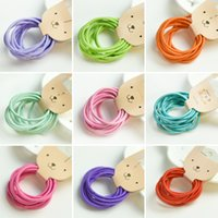 Wholesale Hot Sale Style color random delivery sets C Fashion Candy Colors Girls Hair Ties Simple Style Elastic Holder Headbands for Children