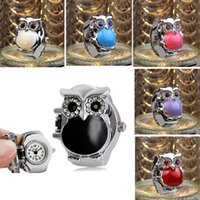 Wholesale New Hot Creative Fashion Retro Owl Finger Watch Clamshell Ring Watch Cartoon Watch DHL